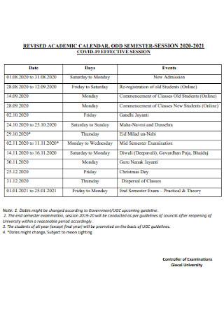 Academic Semester Calendar