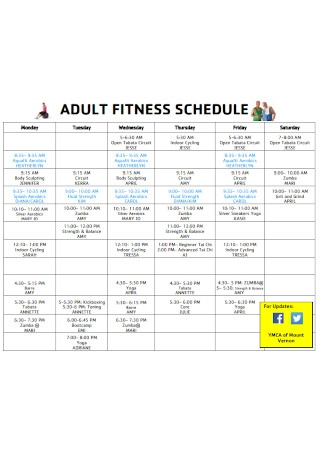 Adult Fitness Schedule