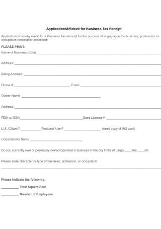 Affidavit for Business Tax Receipt