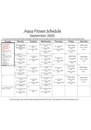Aqua Fitness Schedule
