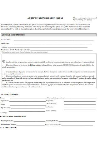 Article Sponsorship Form