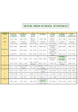 Basic High School Schedule