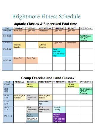 Brightmore Fitness Schedule
