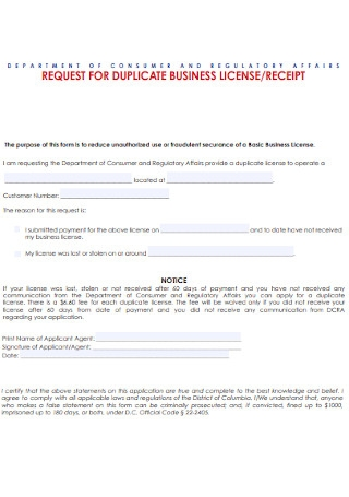 Business Licence Receipt