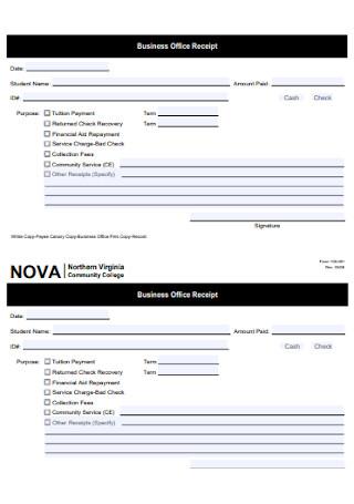Business Office Receipt