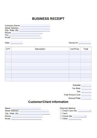 Business Receipt Format