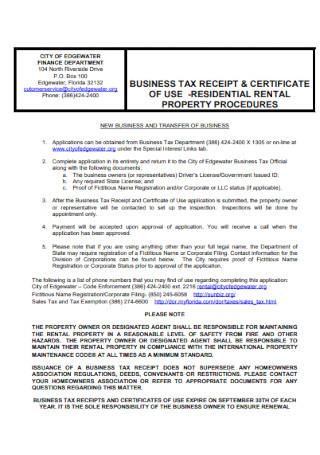 Business Tax Property Receipt