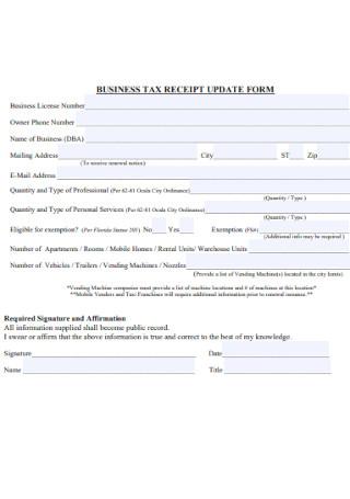 Business Tax Receipt Update Form