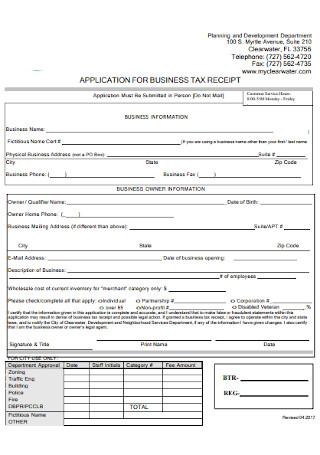 Business Tax Receipt