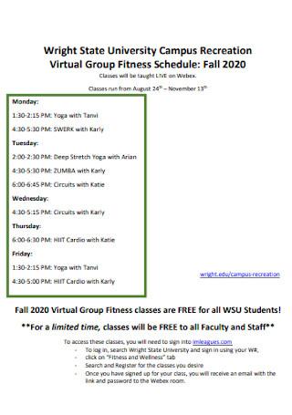 Campus Fitness Schedule