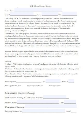 Cell Phone Property Return Receipt