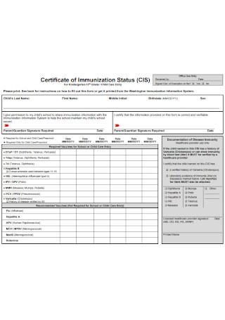 Certificate of Immunization Status Form