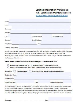 Certification Maintenance Form