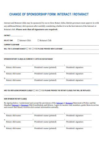 Change of Sponsorship Form