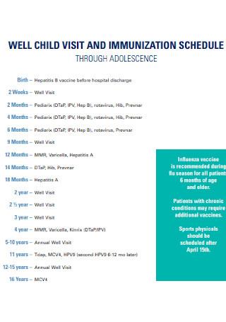 Child Visit and Immunization Schedule