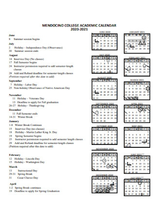 College Academic Calendar Template