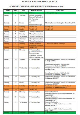 College Engineering Academic Calendar