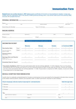 College Immunization Form