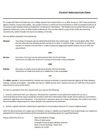 College Student Immunization Form