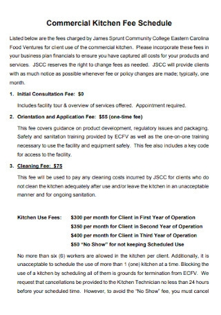 Commercial Kitchen Fee Schedule