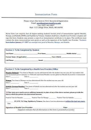 Community College Immunization Form