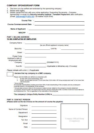 Company Sponsorship Form