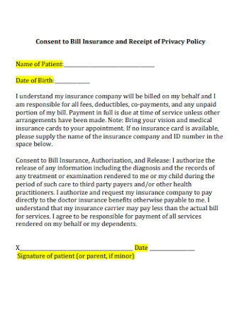 Consent to Bill Insurance and Receipt