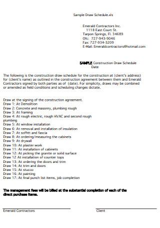 Construction Draw Schedule