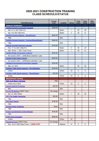 Construction Training Class Schedule