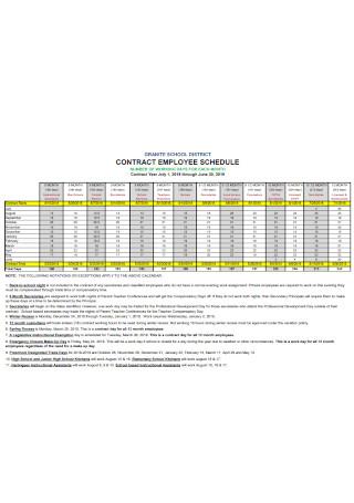 Contract Employee Schedule