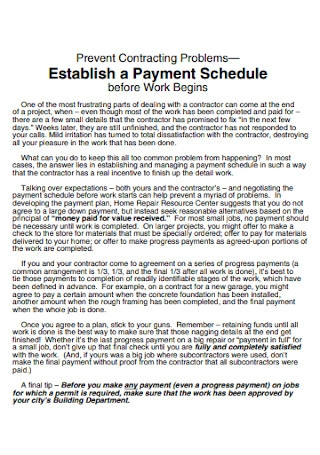 Contracting Payment Schedule