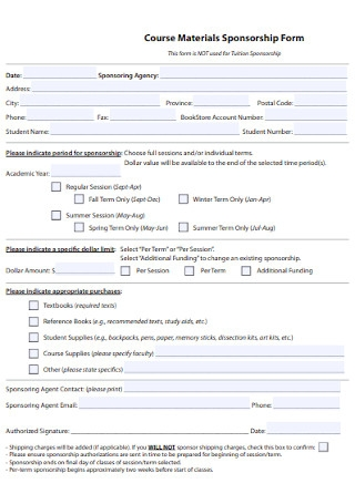 Course Materials Sponsorship Form