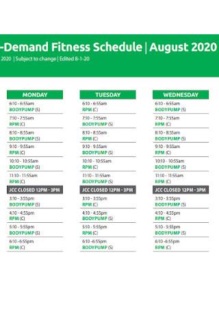 Demand Fitness Schedule