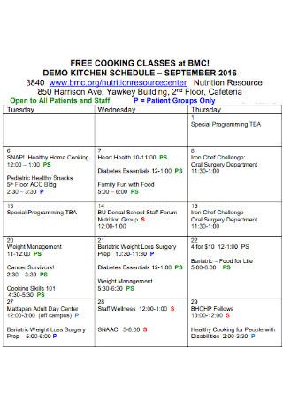 Demo Kitchen Schedule Template