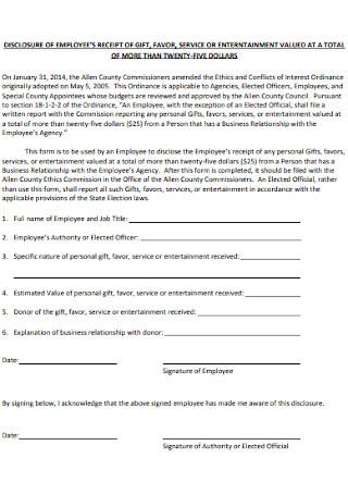 Disclosure of Employee Receipt