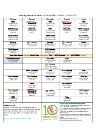 Drop in Group Fitness Schedule