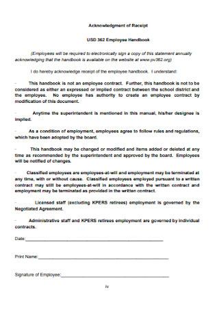 Employee Acknowledgment of Receipt