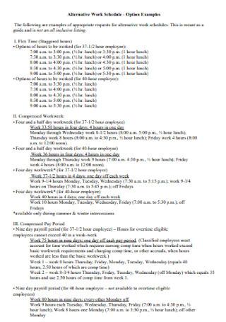Employee Alternative Work Schedule