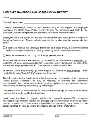 Employee Board Policy Receipt