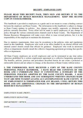Employee Copy Receipt Template
