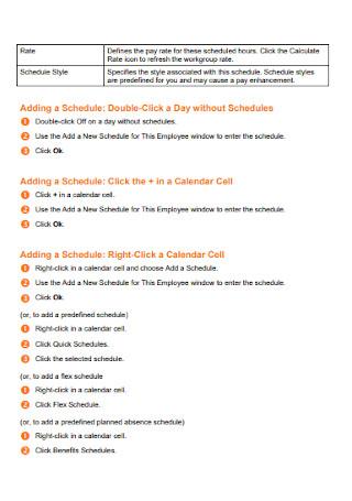Employee Schedules Format