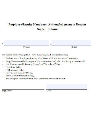 Employee and Faculty Receipt Template