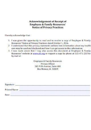 Employee and Family Receipt Template