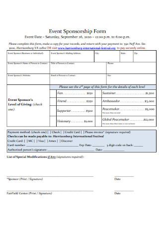 Event Sponsorship Form