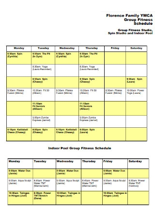 Family Fitness Schedule