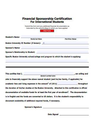 Financial Sponsorship Certification Form