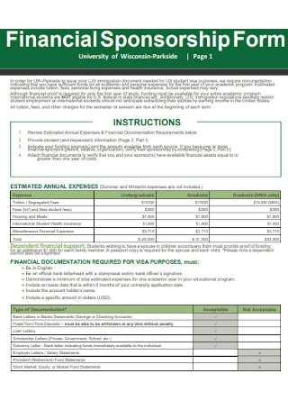 Financial Sponsorship Form