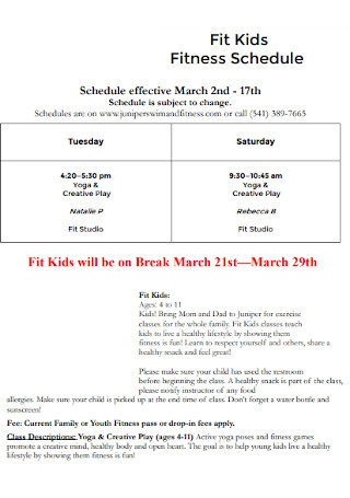 Fit Kids Fitness Schedule