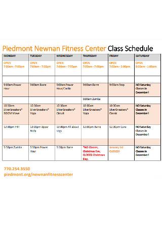 Fitness Center Class Schedule