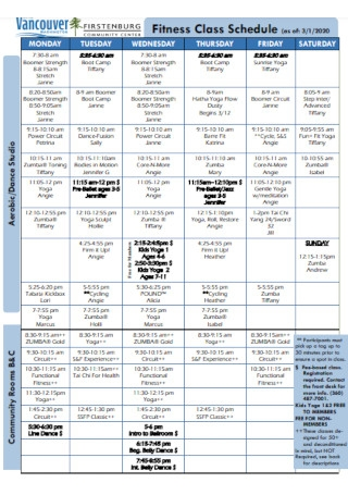 Fitness Class Schedule Example